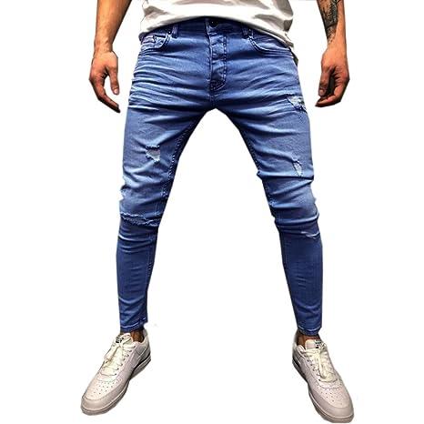 Amazon.com: Mens Skinny Jeans Broken Jeans Elasticity ...