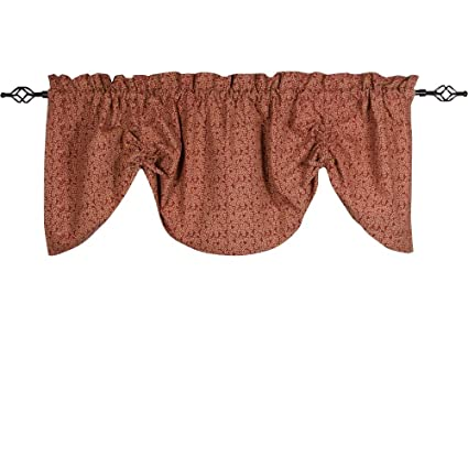 Home Collections by Raghu 72x36, Barn Nutmeg Red Vine Print with Ticking Gathered Valance