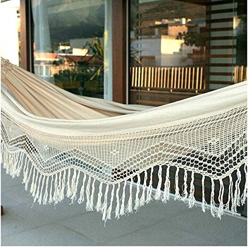 Sol Living EN-OL-CCH001 En-Ol-Cch001 Hammock, White - Classic Design - This 55L X 86W Hammock Features A Simple But Beautiful Design That Will Brighten Up Any Home For Years To Come; Weight Capacity: 396 Lbs. Country Of Origin: India Assembly Required - patio-furniture, patio, hammocks - 61yv6iIRRcL -