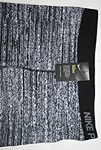 Women's Pro Warm Printed Tights by Nike (XL Extra Large) Black/Gray/White