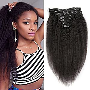 Kinky Straight Clip In Hair Extension Brazilian Human Hair Clip Ins Double Weft Coarse Yaki Clip In Human Hair Extension For Black Women 7pieces/set (16inch-70g, Natural Color)
