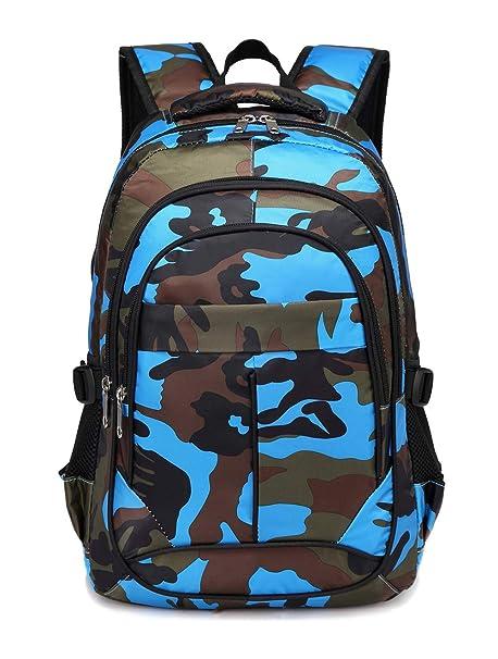 665f61990abb BLUEFAIRY Kids Backpacks For Boys Primary School Bags for Girls Camouflage  Print Bookbag (Camo Blue)