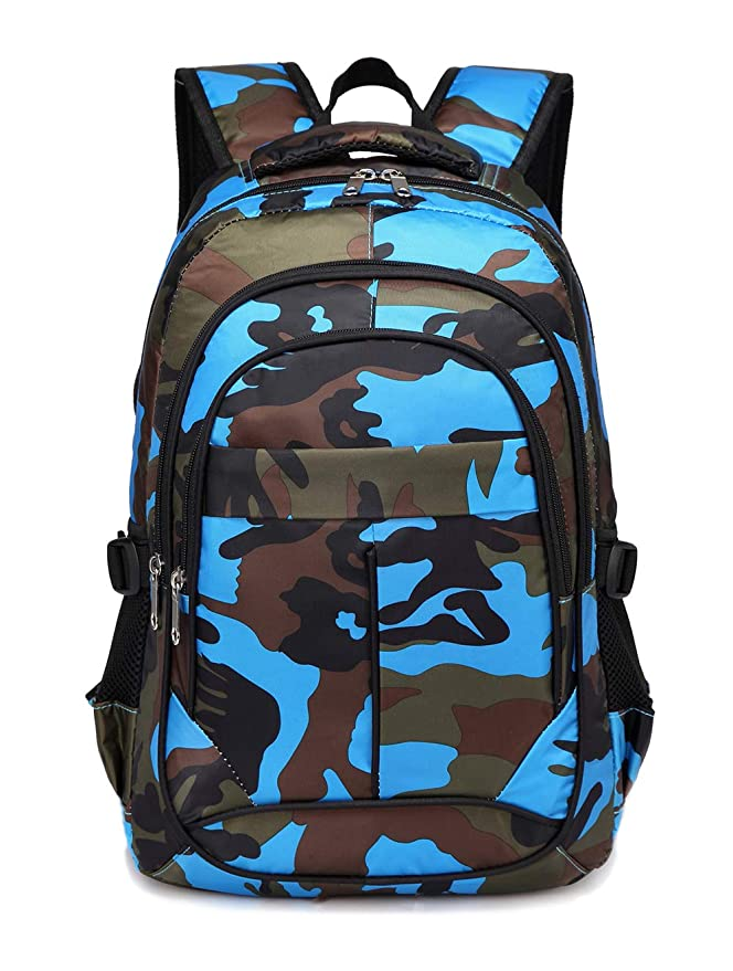 3bbb109378eb BLUEFAIRY Kids Backpacks For Boys Primary School Bags for Girls Camouflage  Print Bookbag (Camo Blue