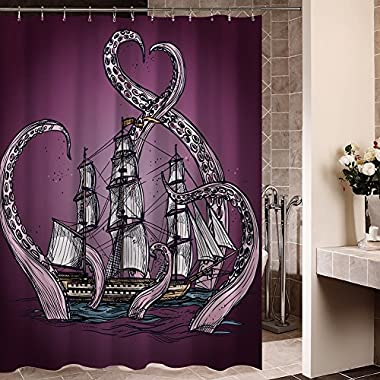 Generic Personalized Purple Sailing Big Octopus on the Sea Shower Curtain Bath Decor Curtain 66  x 72