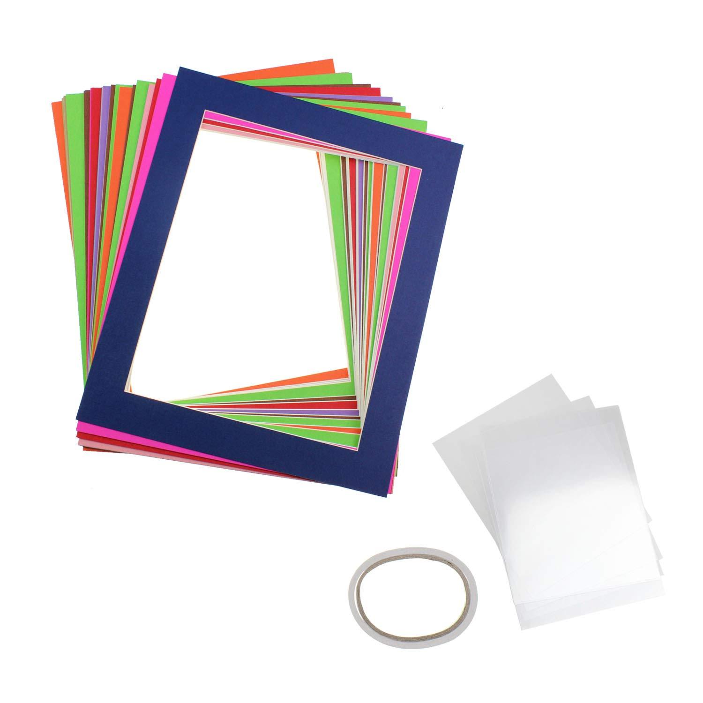 Pack of 10 Mixed Colors Pre-Cut 6x8 Picture Mat Photo White Core Bevel Art Mats Brand Premier Acid-Free Frames White Core Bevel Cut Matte Frames for Photo by J&Q
