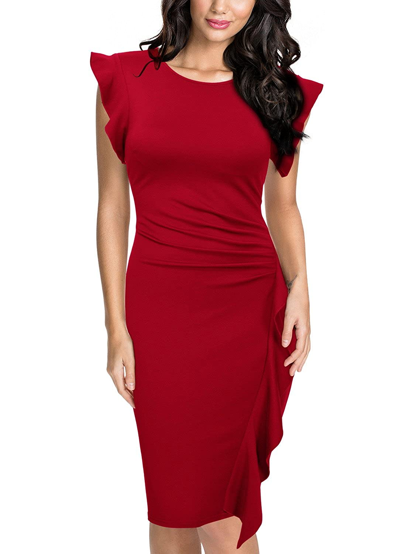 TALLA EU 48/50(X-Large). Miusol Casual Slim Fit Coctel Vestido de Lápiz para Mujer Rojo EU 48/50(X-Large)