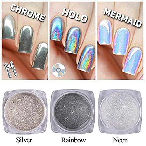 Super White Nail Powder (QIMYAR Nail Glitter Neon Chrome Powder Holo Silver Mirror Pigment 3D DIY Laser Rainbow Shiny Dust 3 Bottle)