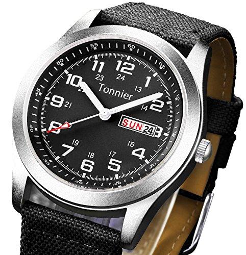 Tonnier Tonnier Men's Weekender&Calendar Analog Black Canvas Strap Mans Watches price tips cheap