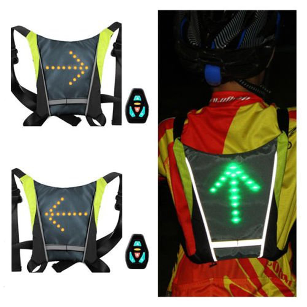 LED Turn Signal Light Reflective Vest Backpack//Business//Travel//Laptop//School Bag Sport Outdoor Waterproof for Night Cycling Safety ihuniu,inc