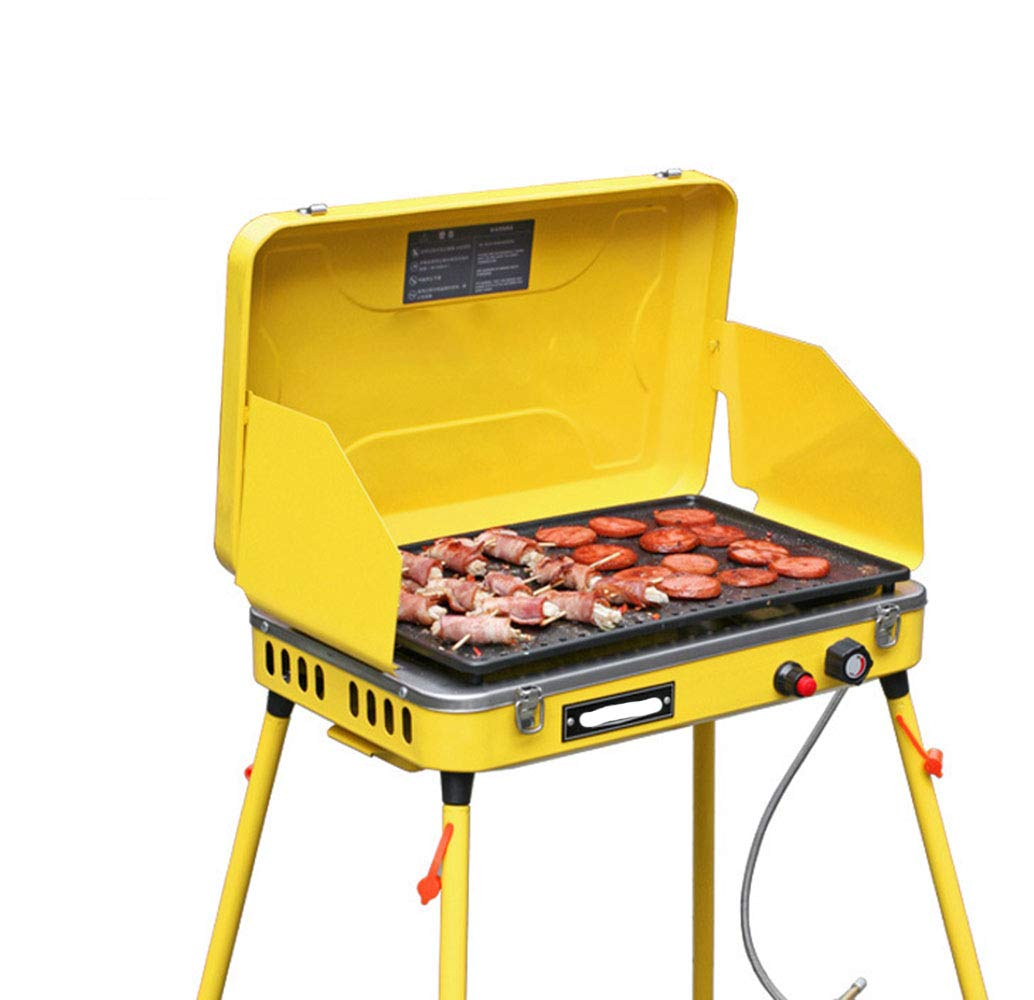 Dygzh Camping Grill Outdoor BBQ Portable Windproof Folding with Non-Stick Pan Camping and Trailing Suitable for Camping Outdoor Gardens by Dygzh