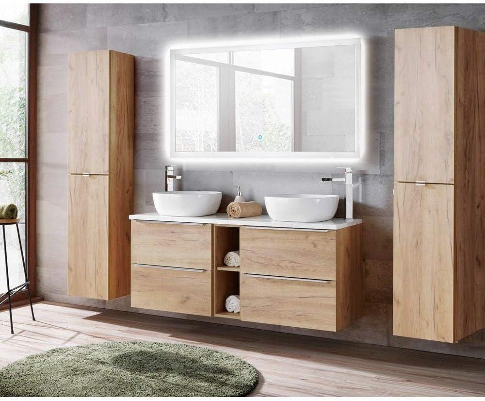 Lomadox Badmöbelset in Wotaneiche, Doppel-Waschtischunterschrank mit 2 Keramik-Waschbecken & LED-Spiegel, 2 Hochschränke 1