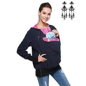 Modetrend Femme Kangourou Maternité Vêtements Sweats à capuche Pull Pour Deux Porter Les Bébés Porteur Pullover Sweat-shirt