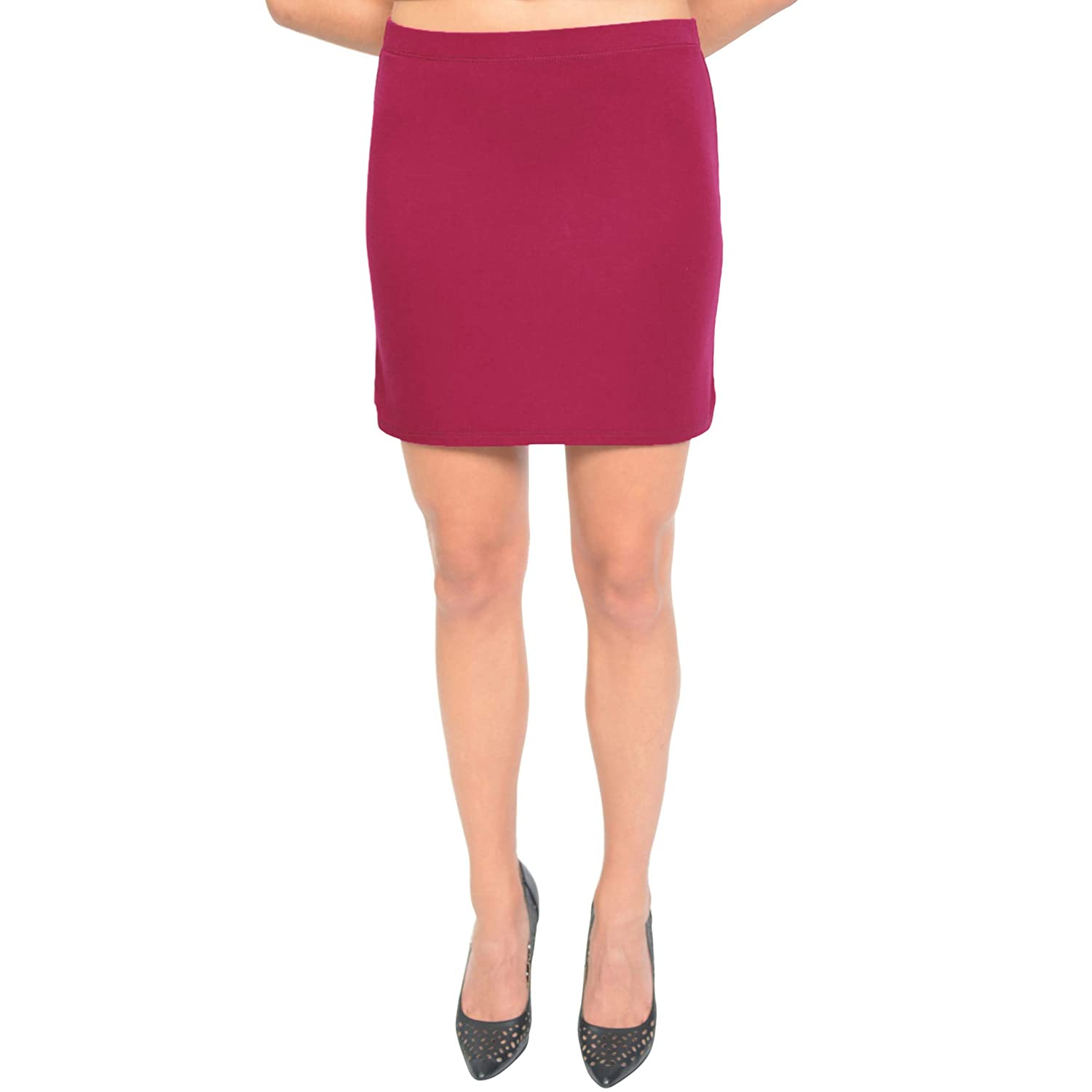 117ce7fa42a99 Stretch is Comfort Women's Soft Stretch Fabric Basic Mini Skirt at Amazon  Women's Clothing store: