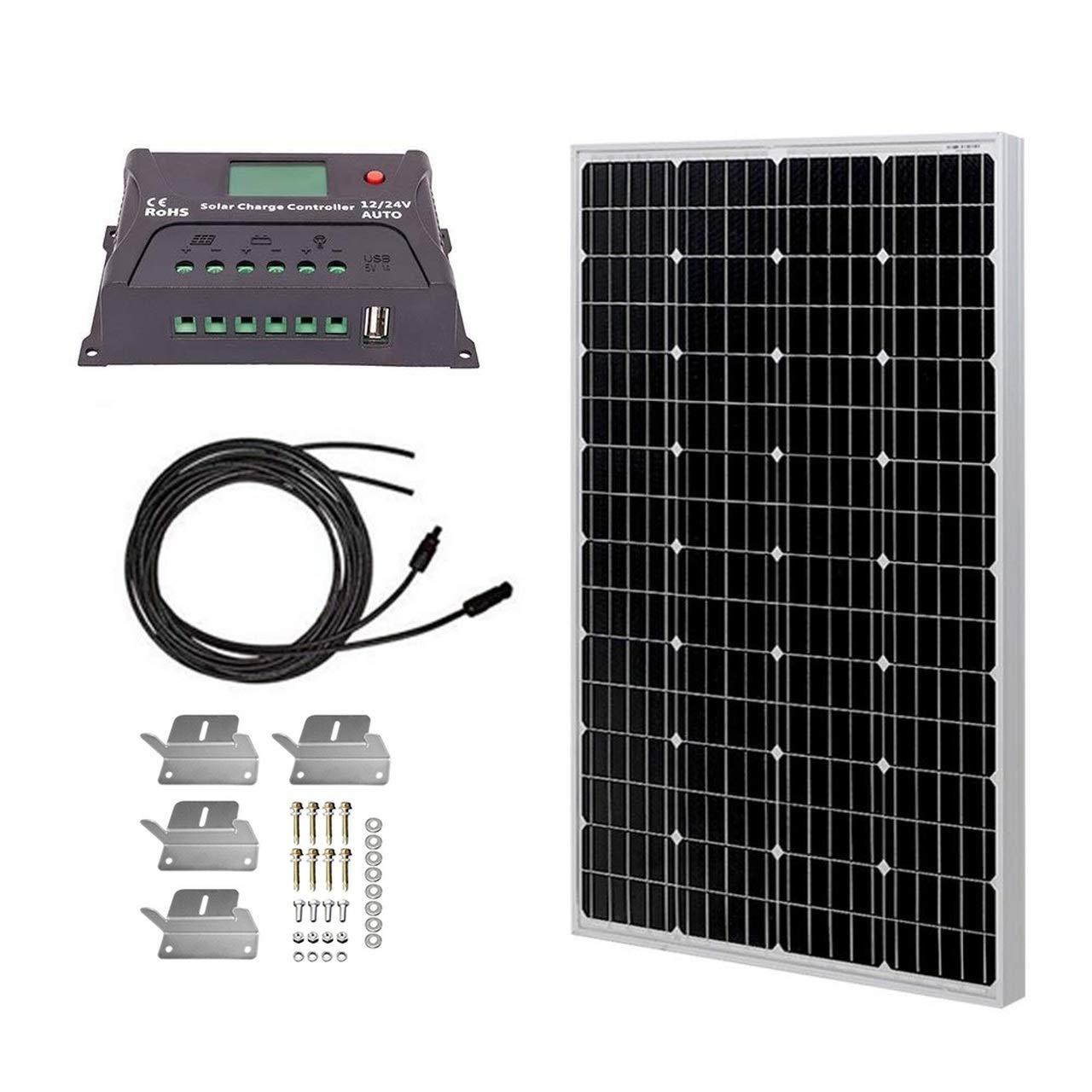 HQST Solar Panel Kit Monocrystalline 100Watt