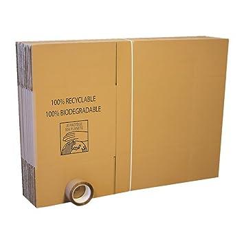 Carton Market Lote de 15 cajas estándar para mudanzas, incluye 1 rollo de cinta adhesiva: Amazon.es: Oficina y papelería