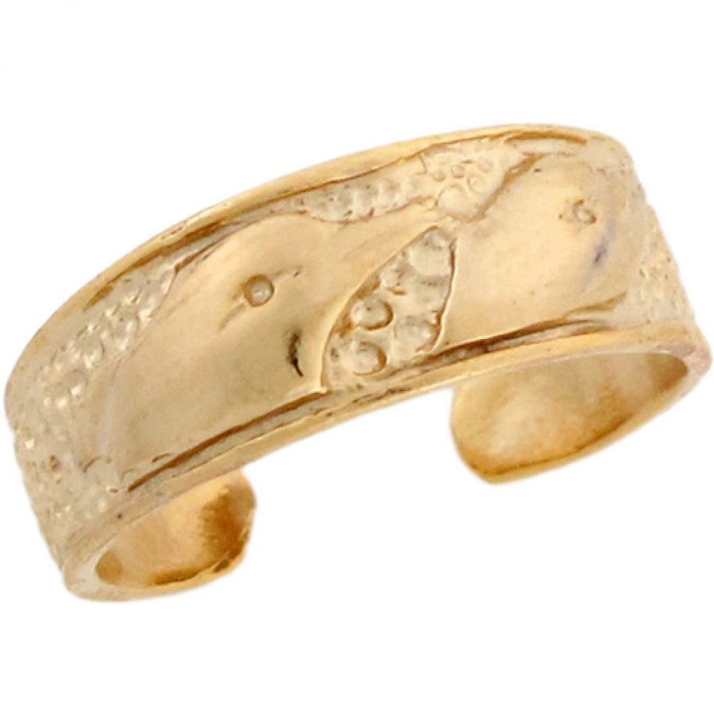14k Yellow Real Gold Dolphin Designer Toe Band