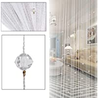 Dongplayer Beaded String Curtain Door Divider, White Crystal Beaded Curtain Tassel Decorative Door String Beads for…