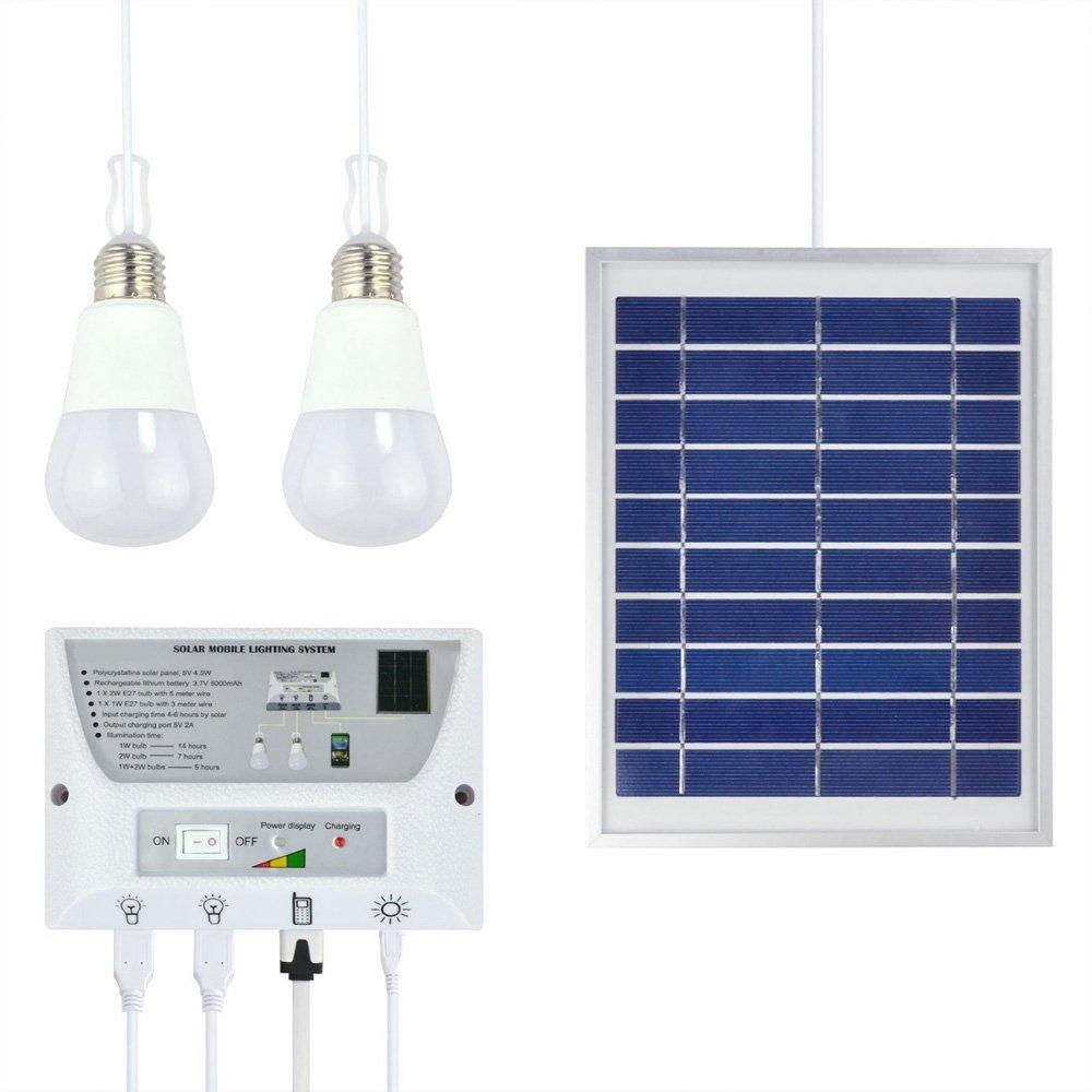Katomi, sistema de iluminación solar portátil móvil, batería para cargar móviles y para luces de emergencia, para uso en interiores y al aire libre: ...
