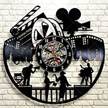 Movie Night Home Theater Wall Decor Reels Theater Cinema Vinyl Clock Decorative Vinyl Record Wall Clock This Clock Is A Unique Gift To Your Friends And Family For Any Occasion