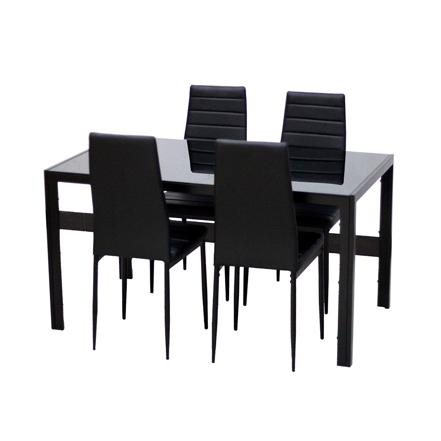 EBS® Black Glass Dining Table and 4 Chairs Dining Room Furniture Set - Modern Design Faux Leather EBS My Furniture
