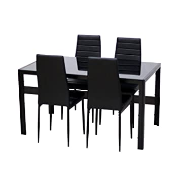Ebs Black Glass Dining Table And 4 Chairs Dining Room Furniture Set