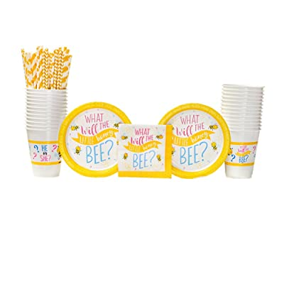 What Will It Bee? Party Supplies Pack for 16 Guests: Straws, Dessert Plates, Beverage Napkins, and Cups: Toys & Games