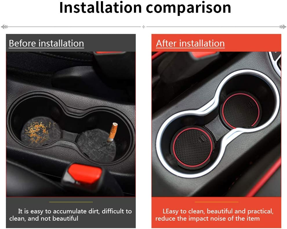 Custom Interior Cup Mat,Non-Slip Gate Slot Pad,Door Groove Mats,Interior Storage Box Holder Latex for Ford Edge 2015 2016 Red 20 Pcs