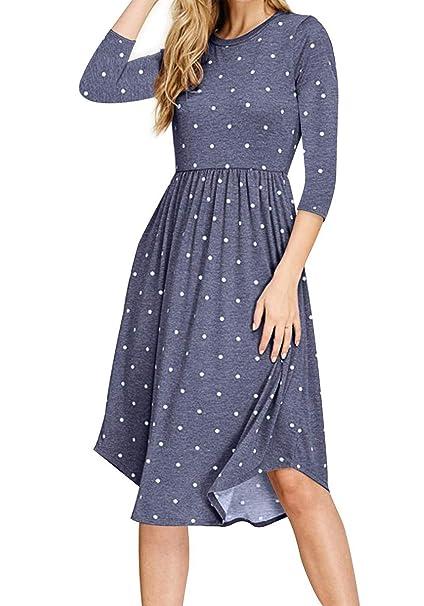 78039e687c Amazon.com: TooTa Women 3/4 Sleeve Pleated Polka Dot Tunic Loose Swing  Casual Floral Printed Midi Dress with Pockets (Blue,S): Clothing