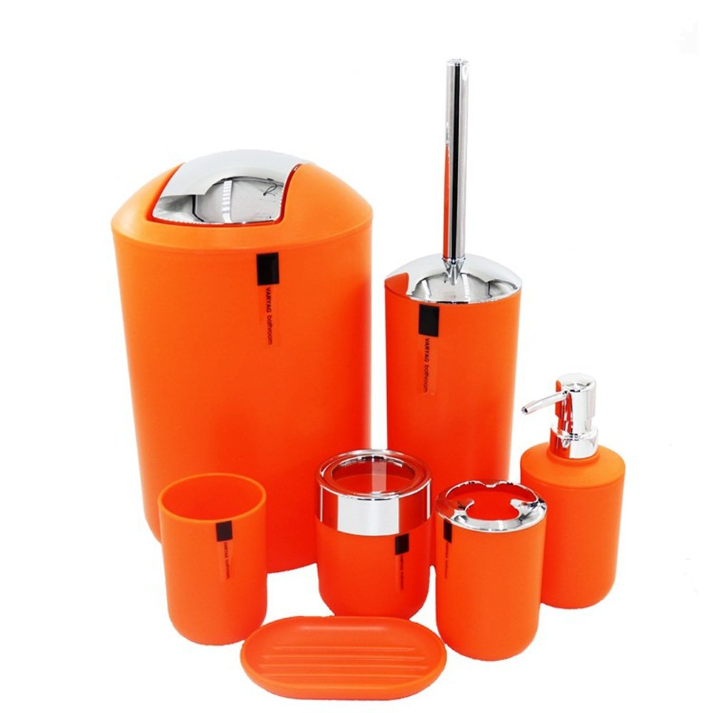 BKPH Conjunto de accesorios de baño simple moderno - 7 piezas, cubo de basura, plato de jabón, dispensador de loción, titular de cepillo de dientes, taza, ...