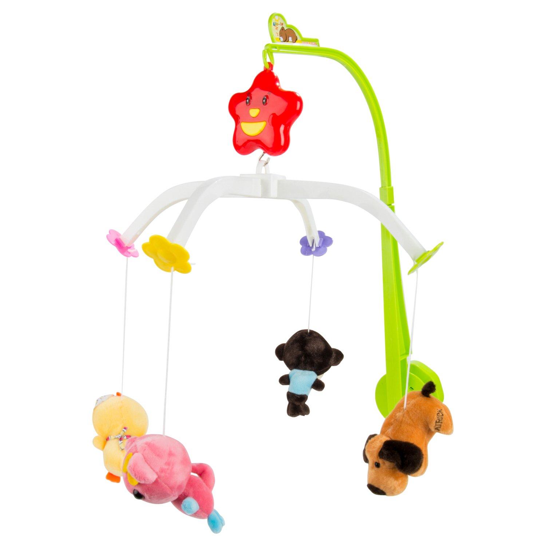 Sumaclife Baby Boy Girl Crib Musical Mobile with Hanging Rotating Adorable Soft Plush Animals Dolls (Animal)
