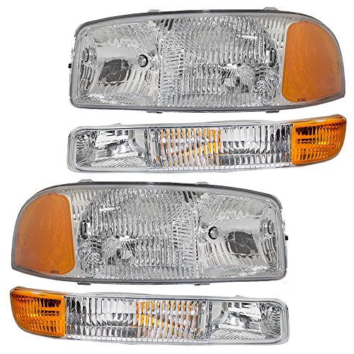 4-Piece Set Headlights & Signal Marker Lamps Replacement for GMC Pickup Truck SUV 15199560 15199561 15850351 15850352