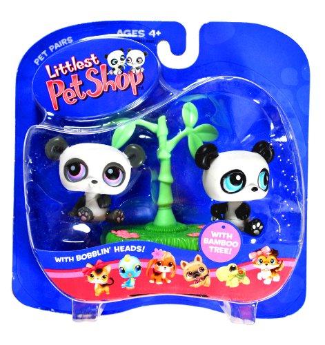 Tree Blue Bamboo (Hasbro Year 2005 Littlest Pet Shop Pet Pairs Bobble Head Pet Figure Set - TWIN BABY PANDAS with