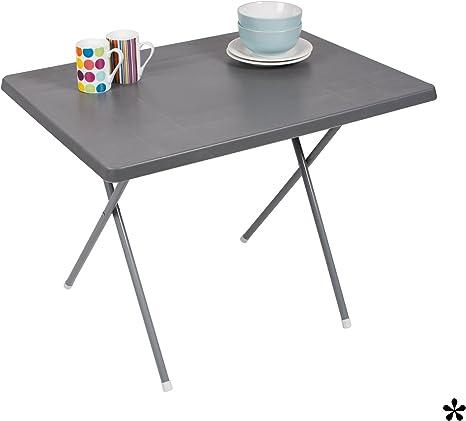 Mesa plegable gris de plástico resistente 80 x 60 cm • camping ...