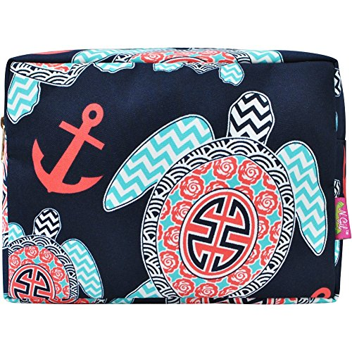Sea Turtle Anchor Print Large Cosmetic Travel (Large Pouch)