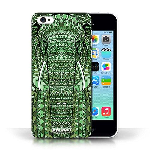 iCHOOSE Print Motif Coque de protection Case / Plastique manchon de telephone Coque pour Apple iPhone 5C / Collection Motif Animaux Aztec / éléphant-Vert