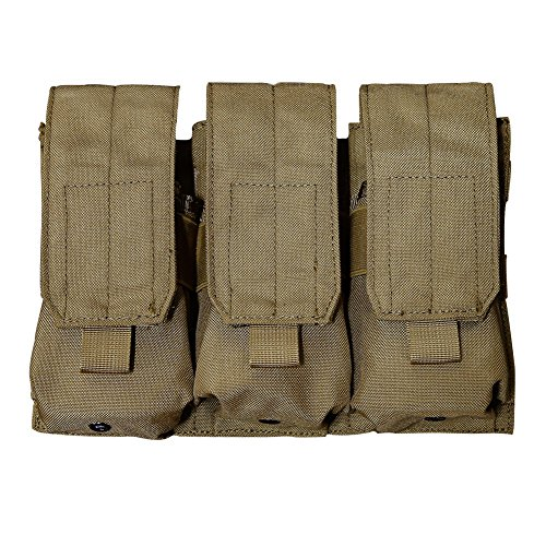 Outry M4 M16 AR-15 Type Magazine Pouch Mag Holder - Triple/Double/Single Airsoft MOLLE Mag Pouch - Velcro Closed Flap Version - Triple - Tan/Coyote Brown (M4 Triple Mag Pouch)