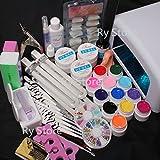 25 in 1 Professional UV Nail Art Kit 12 Color UV Gel 36W 110V US Plug Pink Lamp Dryer Brush Buffer Files Tools False Nail Tips Glue Super Set #23