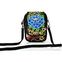 Eagsouni® Mini Femmes Brodé Pivoine Fleur Sacs Bandoulières Téléphone Portable Porte-Monnaie Bonbon Sacs à Main