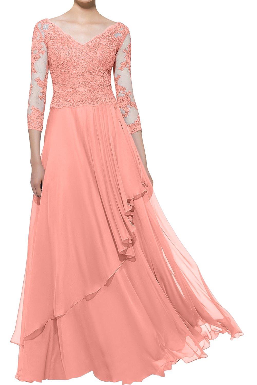Topkleider Damen Elegant Weiss V Neck Spitze Mutterkleider Lang Abendkleider Partykleider Mit 3 4 Arm Brautkleider Hochzeitsmode Questpark Com Ua