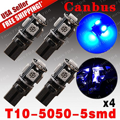 4 X ERROR FREE Ultra Blue T10 5-SMD CAN-BUS Interior LED