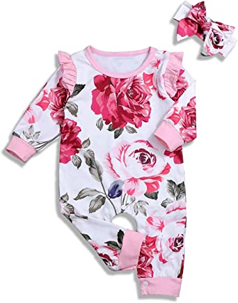 2PCS Newborn Infant Baby Girls Floral Bodysuit Romper Jumpsuit Outfits Clothes