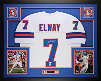 496abbeb9 John Elway Autographed Signed And Framed White Broncos Jersey Signature  Memorabilia - JSA Authentic