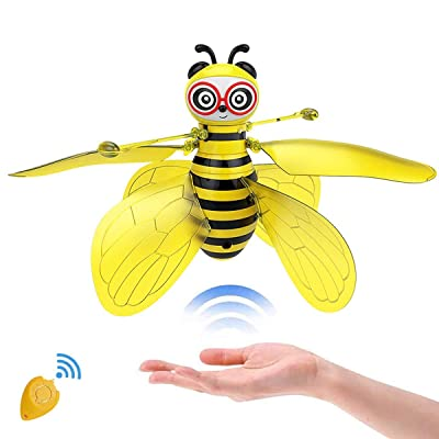SALNIER Flying Ball Toys, Bee Flying RC Toy for Kids Boys Girls Gifts Rechargeable Light Up Drone Infrared Induction Helicopter with Remote Controller for Indoor and Outdoor Games: Toys & Games