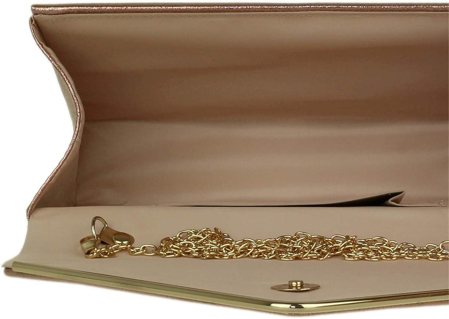 Girly Handbags Faux Suede Clutch Bag Envelope Metallic Frame Women Handbag