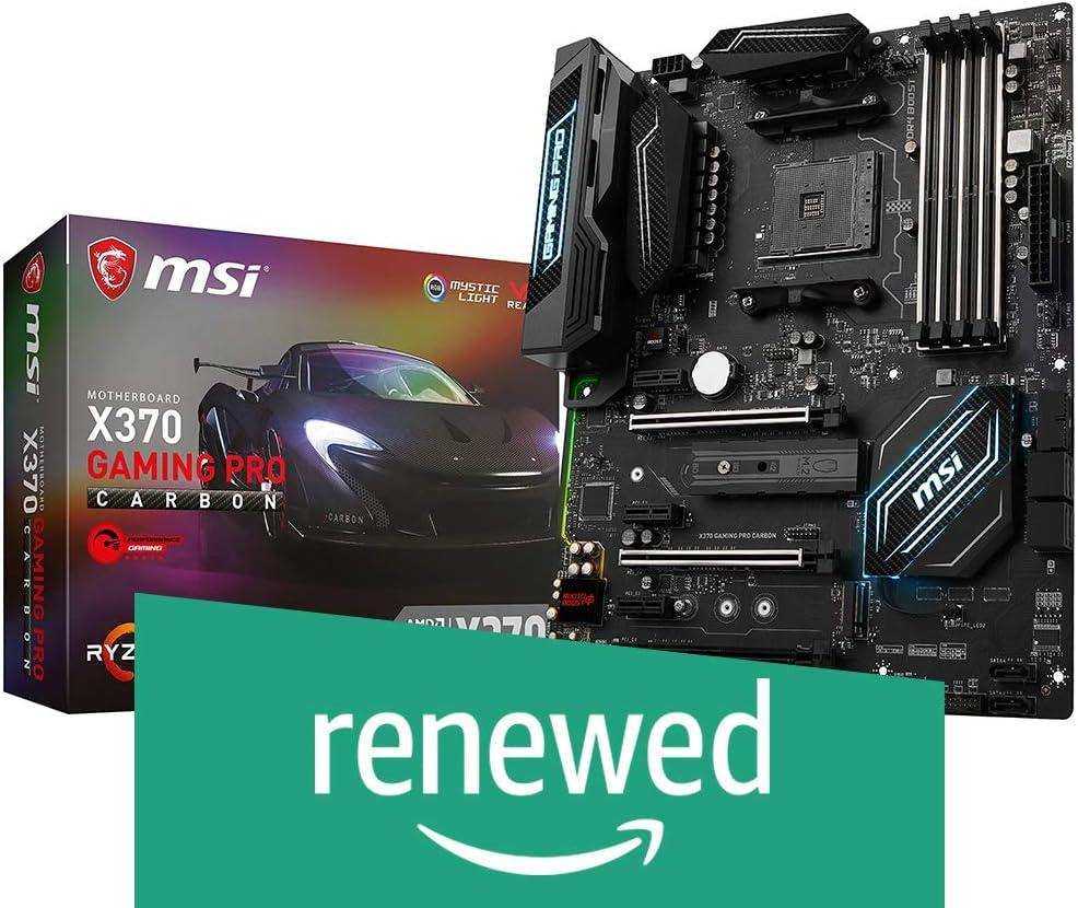 X370 GAMING PRO CARBON Renewed MSI Gaming AMD Ryzen X370 DDR4 VR Ready HDMI USB 3 SLI CFX ATX Motherboard
