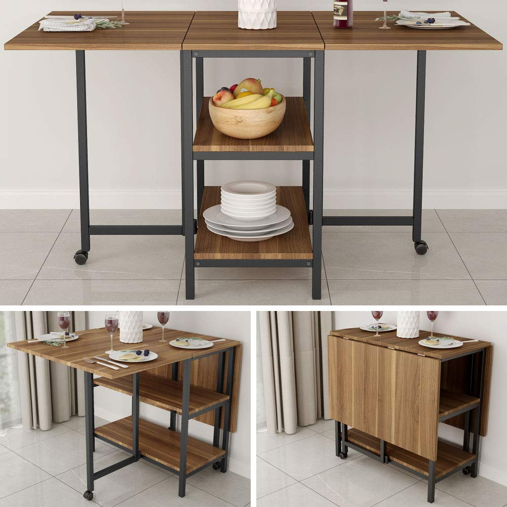 Folding Dining Table, Tribesigns Expandable Dining Table with Double Drop Leaf, Extra 2-Tier Storage Shelf, 2 Lockable Casters for Home Kitchen Use, Chairs Not Included. by Tribesigns (Image #3)