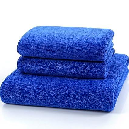 SYXLTSH Toalla de baño Fibra Toalla Absorbente Suave Adulto niño Conjunto Azul