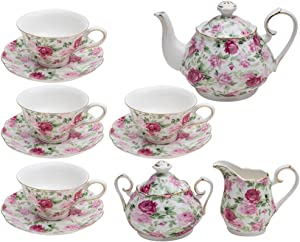 Gracie China by Coastline Imports Pink Summer Rose Chintz 11-Piece Tea Set - TS-33701CL/11