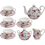 Gracie China by Coastline Imports Chintz 11-Piece Tea Set 11-Piece Tea Set Pink Summer Rose