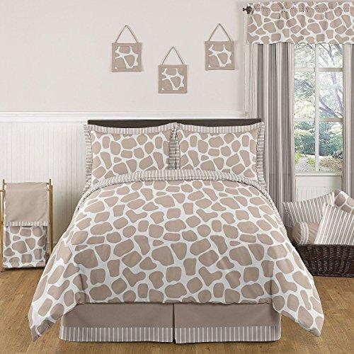 Sweet Jojo Designs 3-Piece Giraffe Neutral Children's and Kids Full / Queen Girl or Boy Bedding Set